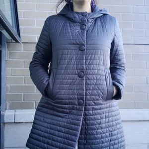 Geox Mid-length Grey Hooded Puffer Jacket